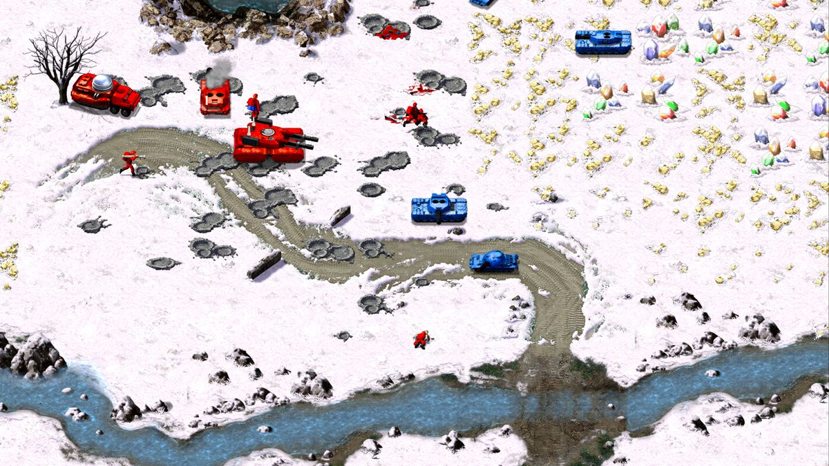 Tanks attack one another in the snow