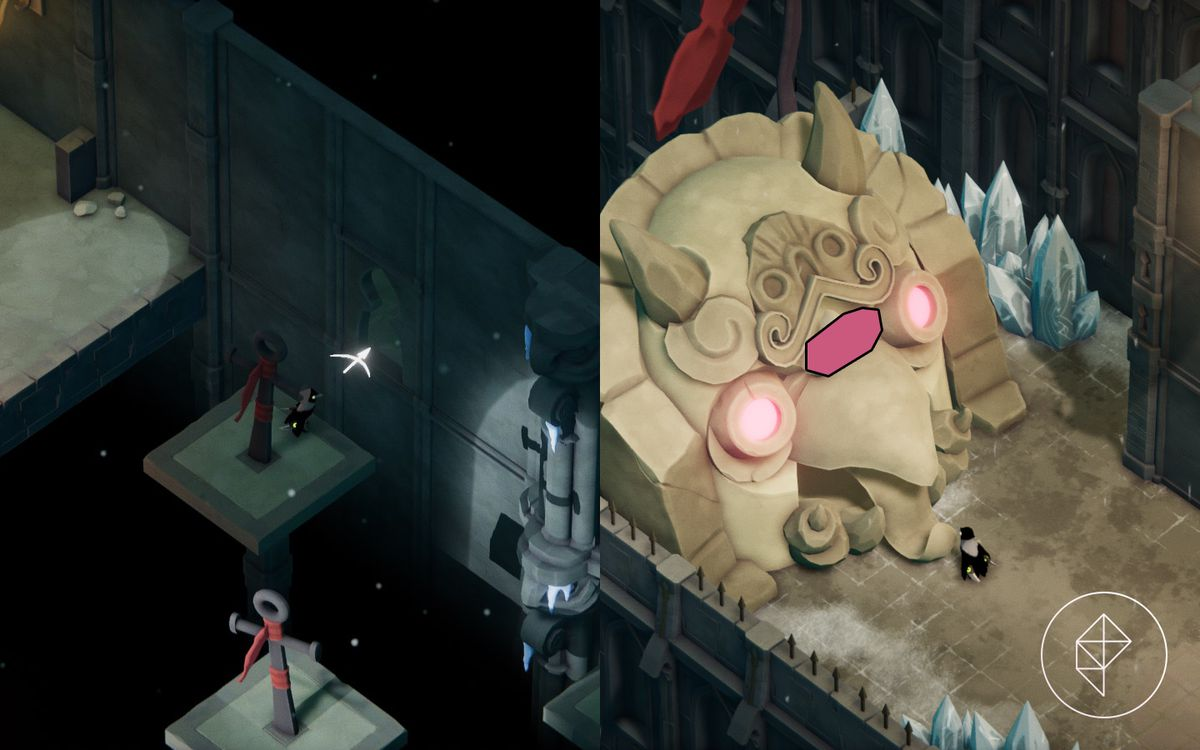 A split image showing where to hookshot in on the left and a magic shrine on the right.