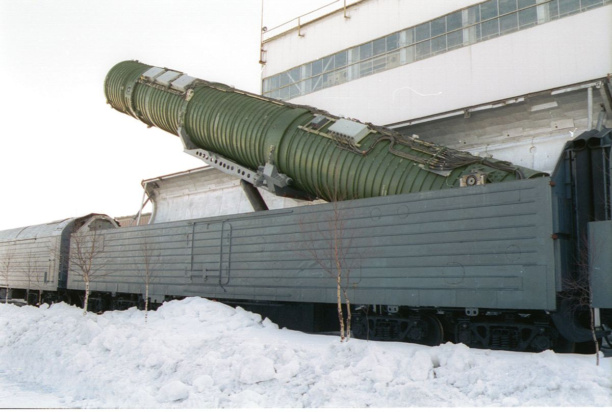 A Russian intercontinental ballistic missile railway launch complex is shown in a 2002 photo (Sovfoto/UIG via Getty)