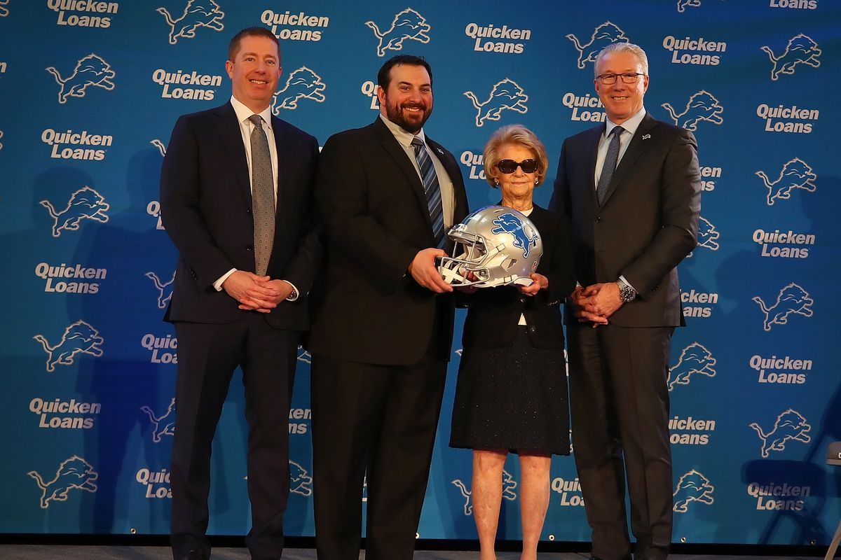 Detroit Lions General Manger Bob Quinn, Matt Patricia, owner Martha Ford and team President Rod Wood pose for a photo after a press conference to introduce Patricia as the Lions new head coach at the Detroit Lions Practice Facility on February 7, 2018 in Allen Park, Michigan.