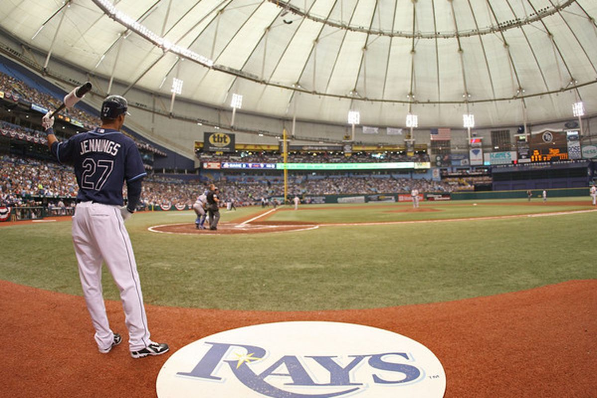 ST PETERSBURG FL - OCTOBER 07: Desmond Jennings #27 the Tampa Bay Rays waits on deck during Game 2 of the ALDS against the Texas Rangers at Tropicana Field on October 7 2010 in St. Petersburg Florida.  (Photo by Mike Ehrmann/Getty Images)
