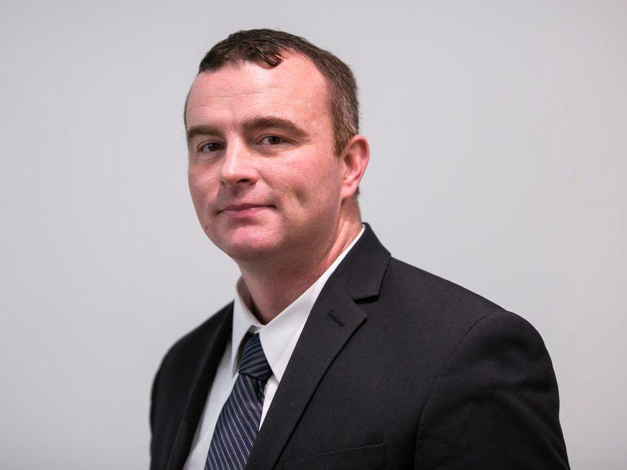 39th Ward aldermanic candidate Joe Duplechin at the Sun-Times Dec. 19. | Rich Hein/Sun-Times