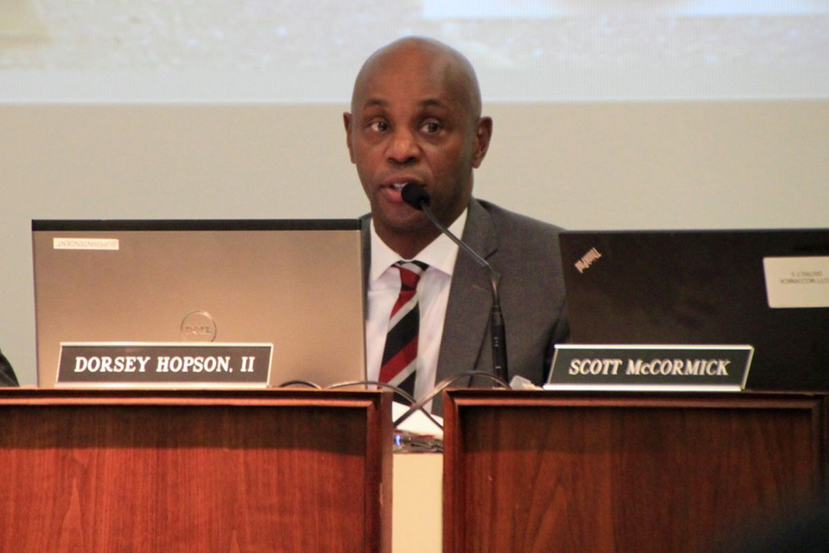 Superintendent Dorsey Hopson speaks Tuesday night during a school board work session for Shelby County Schools.