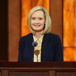 Sister Bonnie H. Cordon, Young Women general president, conducts the women's session of the 190th Semiannual General Conference of The Church of Jesus Christ of Latter-day Saints on Saturday, Oct. 3, 2020.