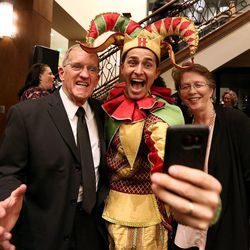 Don Busby, Ryan Simmons and Candy Busby take a selfie at the grand opening of the new Hale Centre Theatre in Sandy on Thursday, Nov. 16, 2017.