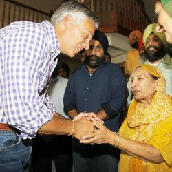 Jon Huntsman Jr. greets Surinder Kaur as he and wife Mary Kaye take time to visit with members of the Sikh religion Monday, Aug. 6, 2012 at their temple in Taylorsville.Former Utah Gov. Jon Huntsman, Jr. is being mentioned as a possible pick to replace Secretary of State Hillary Clinton when she steps down at the start of Obama's second term.