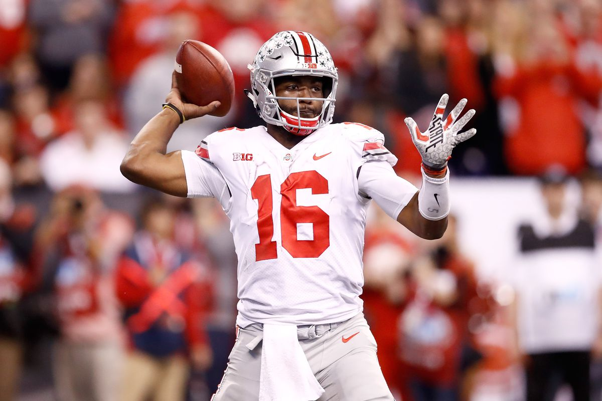 INDIANAPOLIS, IN - DECEMBER 02:  J.T. Barrett #16 of the Ohio State Buckeyes throws a pass against the Wisconsin Badgers in the Big Ten Championship at Lucas Oil Stadium on December 2, 2017 in Indianapolis, Indiana.  Ohio State won 27-21.  (Photo by Andy Lyons/Getty Images)