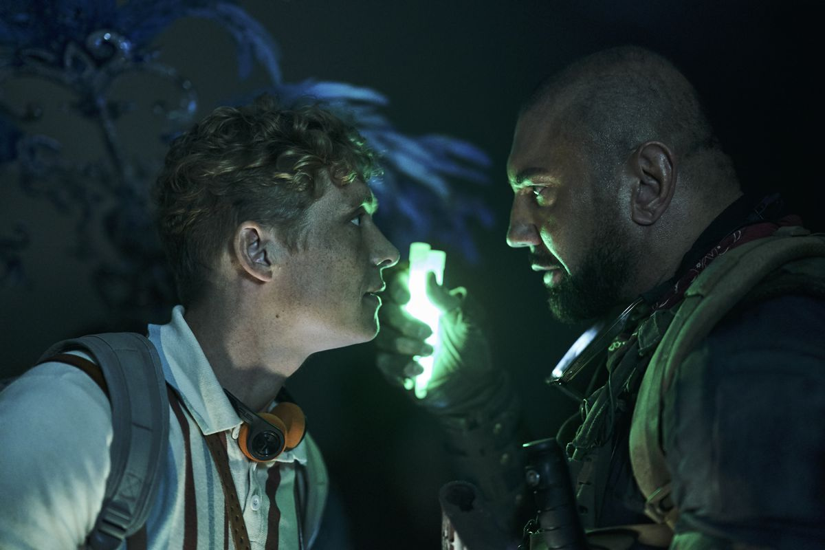 Dave Bautista goes nose-to-nose with Matthias Schweighöfer in Army of the Dead