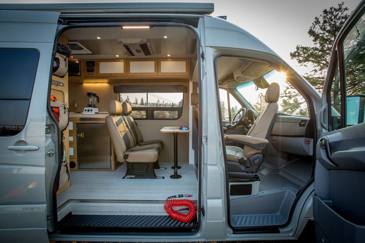 luxury camper van can go off grid for days curbed. Black Bedroom Furniture Sets. Home Design Ideas