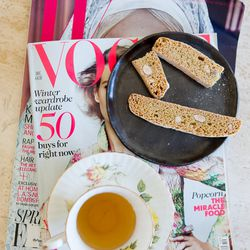 Tea, biscotti, and Vogue make a fine coffee table combo.