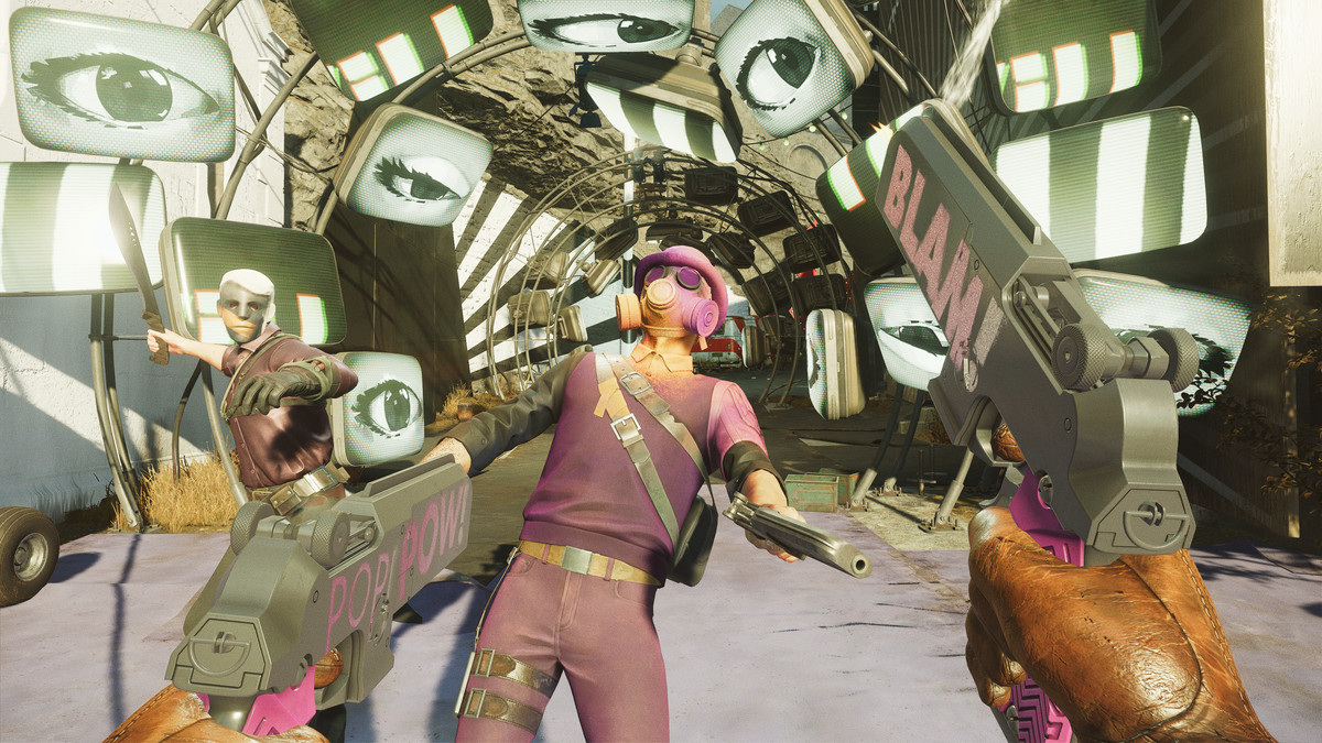 Colorful masked enemies face off against Colt in front of a tunnel of TVs displaying eyes