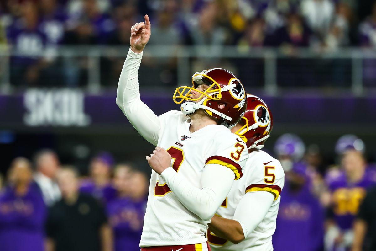 Washington kicker Dustin Hopkins celebrates after kicking a field goal in the second quarter against the Minnesota Vikings at U.S. Bank Stadium.