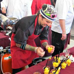 Moto Chef de Cuisine Richie Farina plates his carbonated pineapple