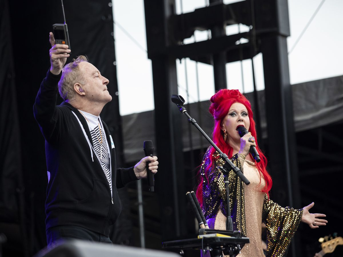 Fred Schneider (left) and Kate Pierson, of The B-52s, perform on day three of Riot Fest in Douglas Park, Sunday night, Sept. 15, 2019.