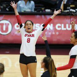 Utah's Bailey Choy celebrates a point against USC in Salt Lake City on Sunday, Oct. 22, 2017.