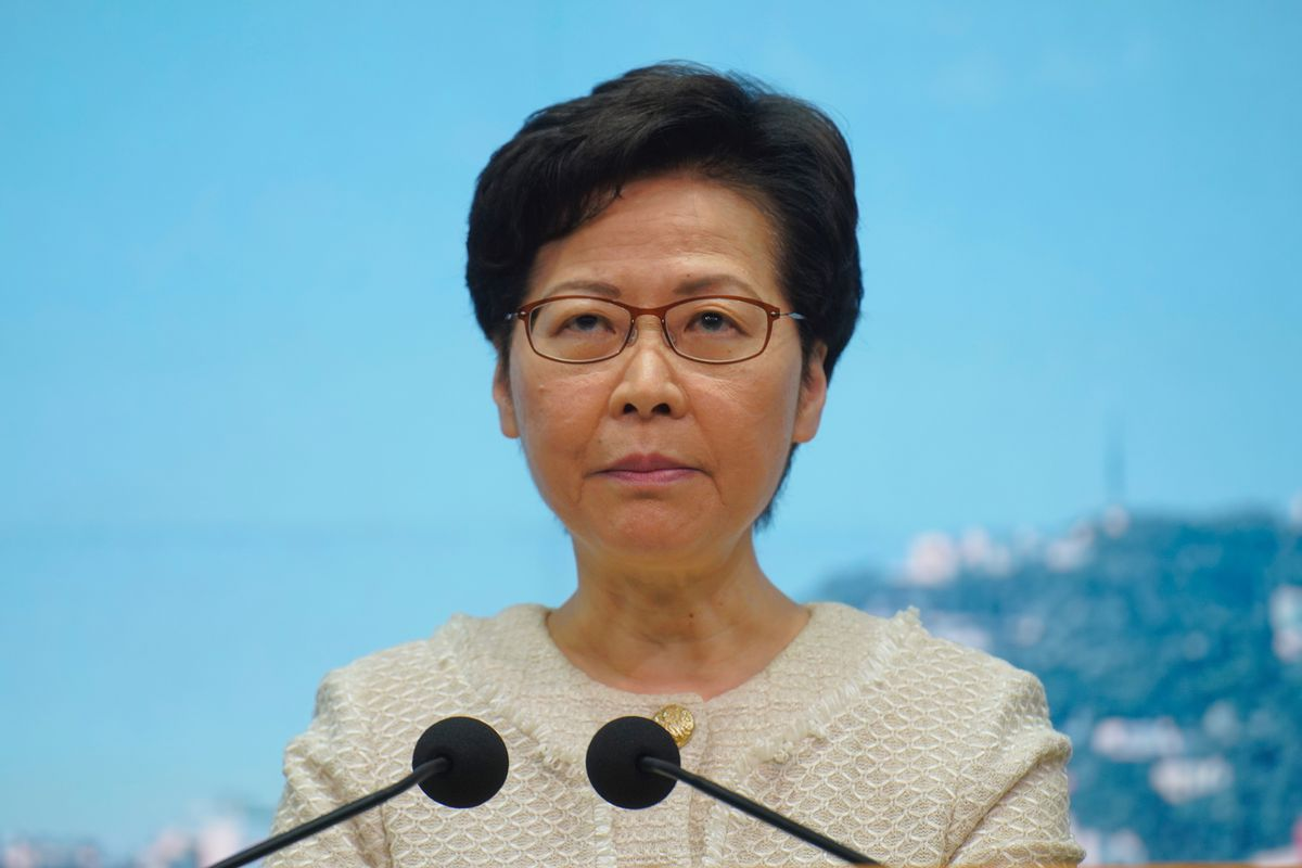 Hong Kong Chief Executive Carrie Lam listens to reporters' questions during a press conference in Hong Kong, Tuesday, July 7, 2020. TikTok said Tuesday it will stop operations in Hong Kong, joining other social media companies in warily eyeing ramifications of a sweeping national security law that took effect last week.
