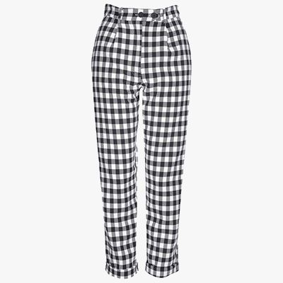 Black and white gingham trousers