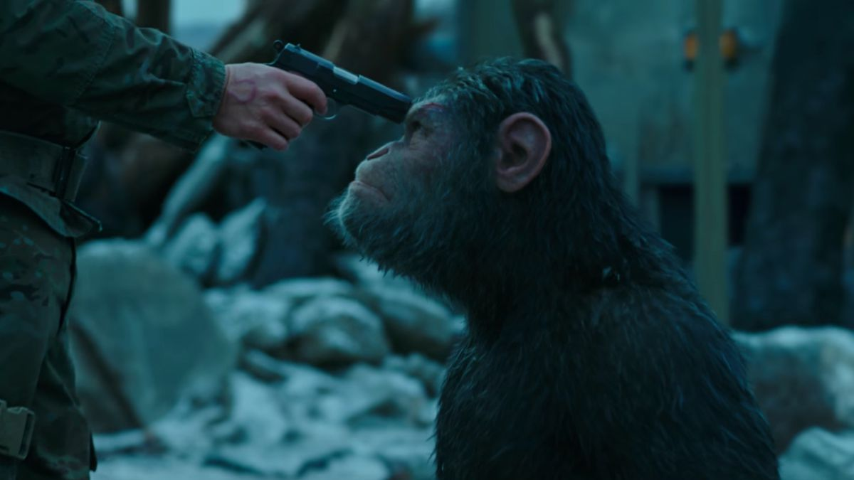 The ape Caesar (Andy Serkis) with a gun to his head in 2017's War for the Planet of the Apes