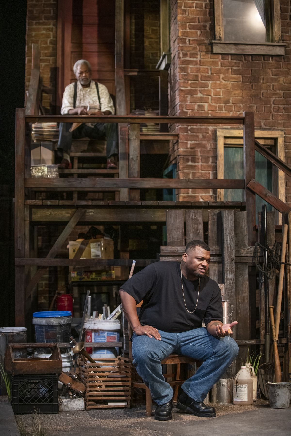 """Stool Pigeon (Dexter Zollicoffer, top) and Kelvin Roston Jr. as the title character in a scene from """"King Hedley II"""" at Court Theatre."""
