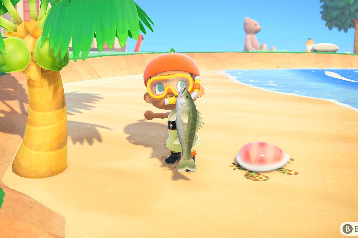 An Animal Crossing character holds up a sea bass fish.