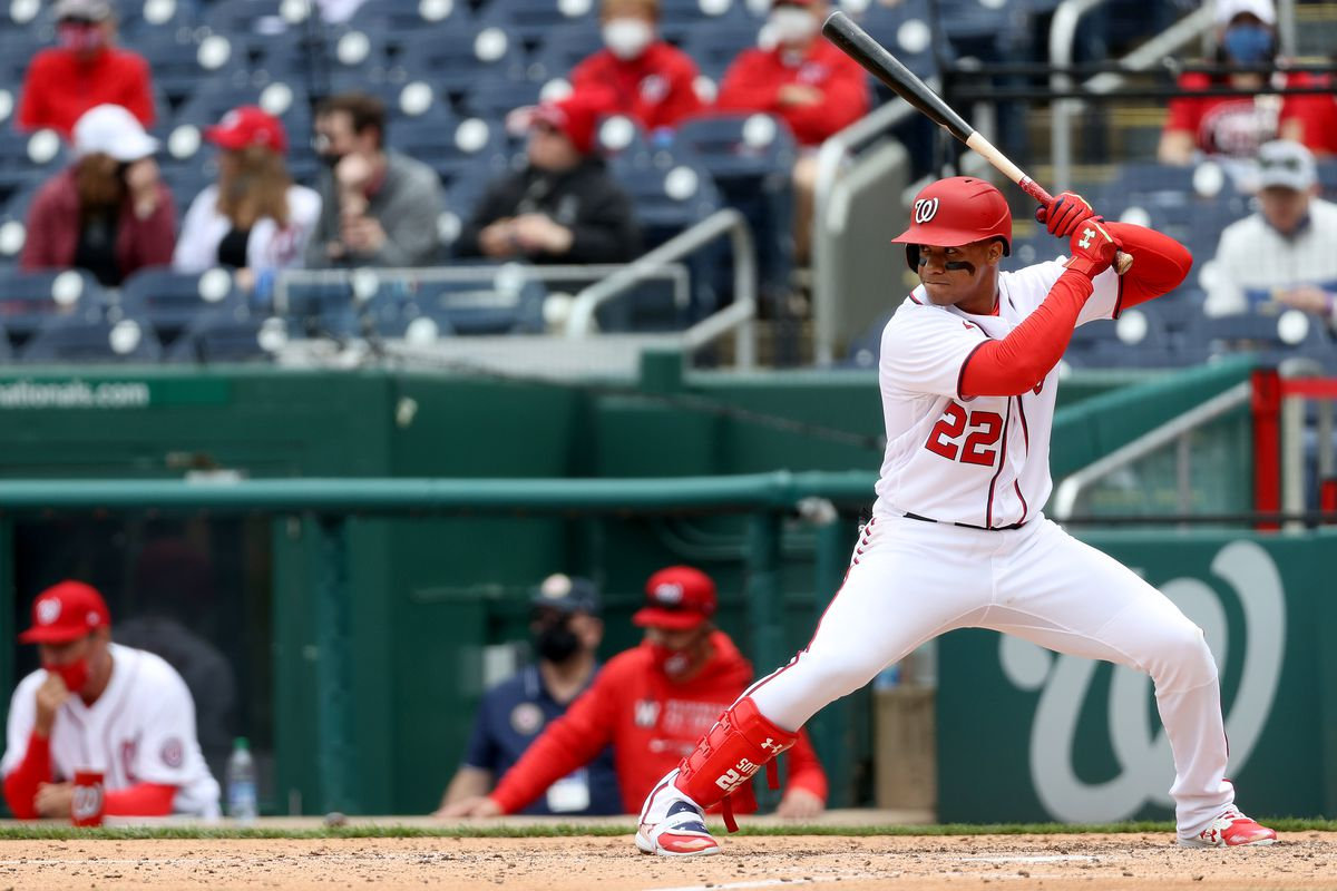 Juan Soto #22 of the Washington Nationals bats in the fourth inning against the Arizona Diamondbacks at Nationals Park on April 17, 2021 in Washington, DC.