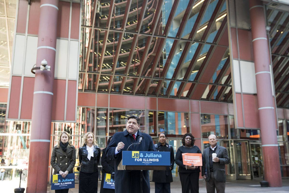 Then Democratic gubernatorial candidate J.B. Pritzker at a news conference outside the Thompson Center in 2018.
