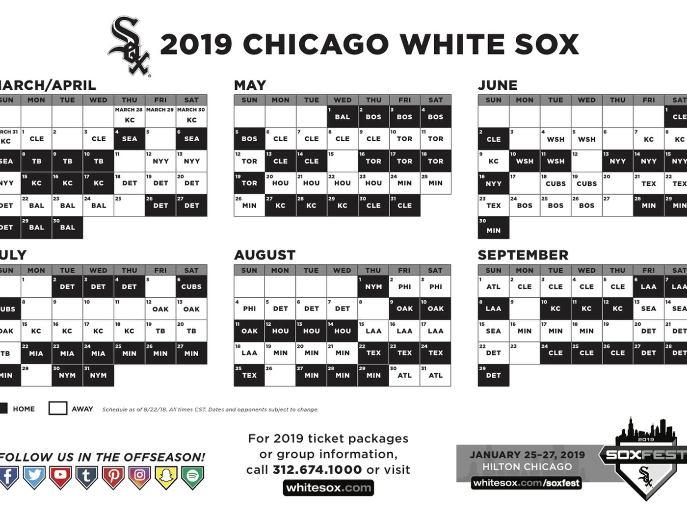 white sox release 2019 schedule, with a home opener vs. seattle