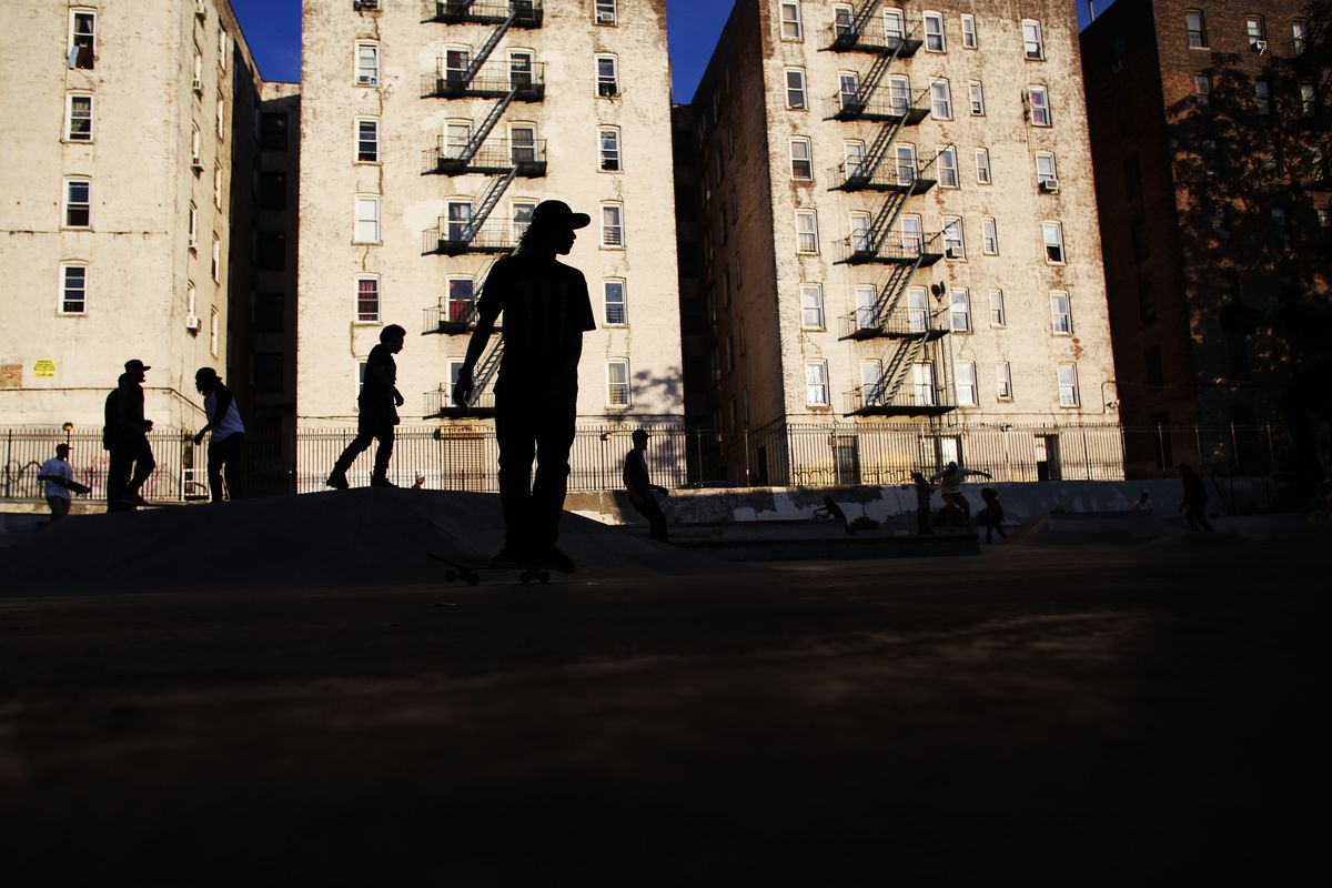 Youths play at a skate park near Yankee Stadium in the Bronx on September 25, 2013.