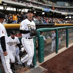 The Salt Lake Bees take the field during the home opener   in Salt Lake City  Friday, April 13, 2012.