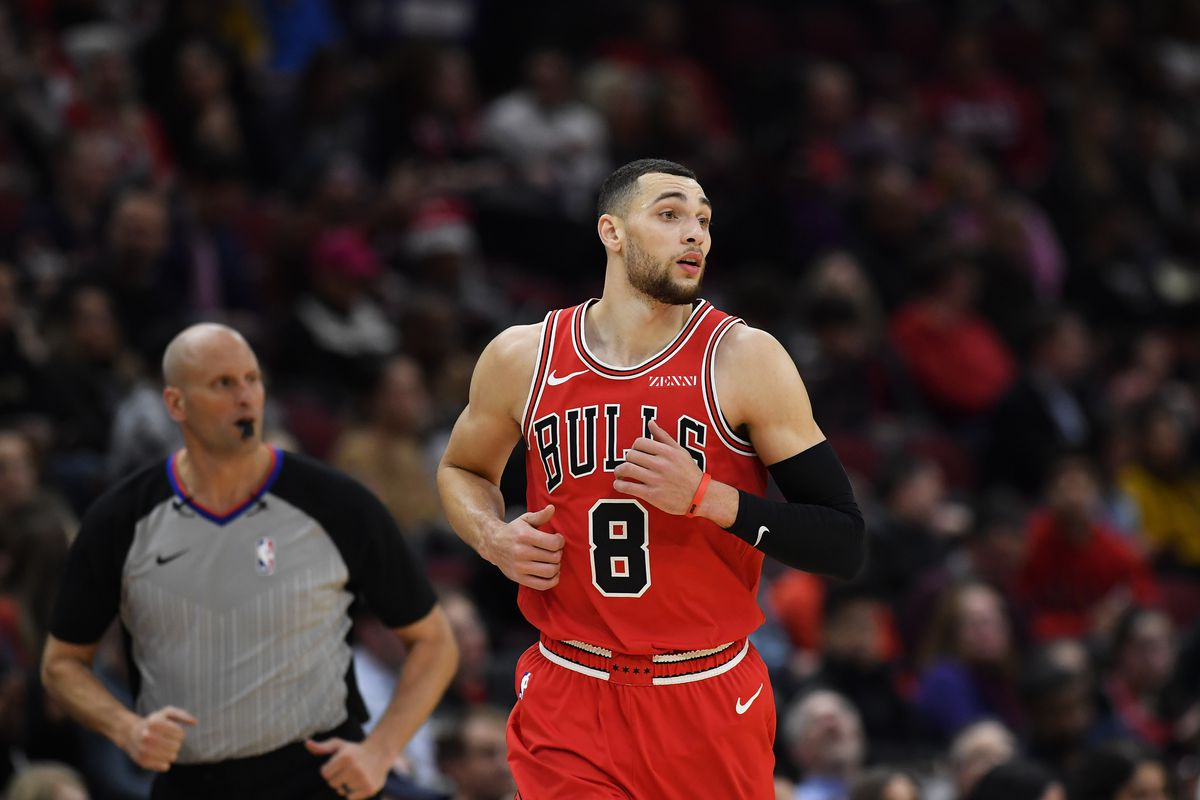 Chicago Bulls guard Zach LaVine looks on after making a three point basket against the Atlanta Hawks in the second half at United Center.
