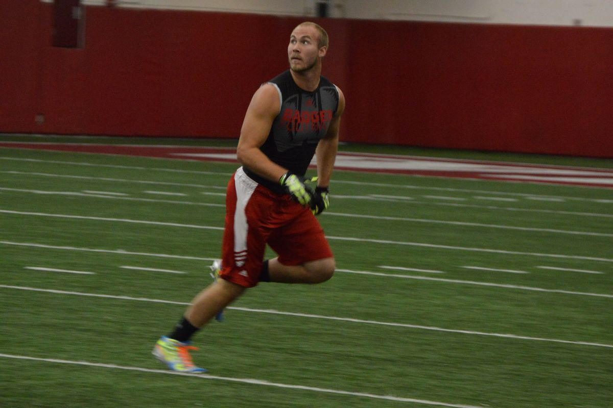Jacob Pedersen at Wisconsin's pro day on March 5.