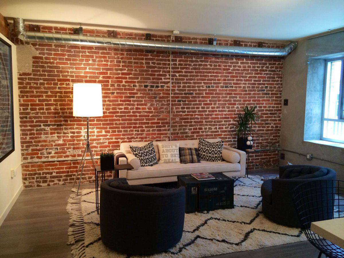 Brick walled living room