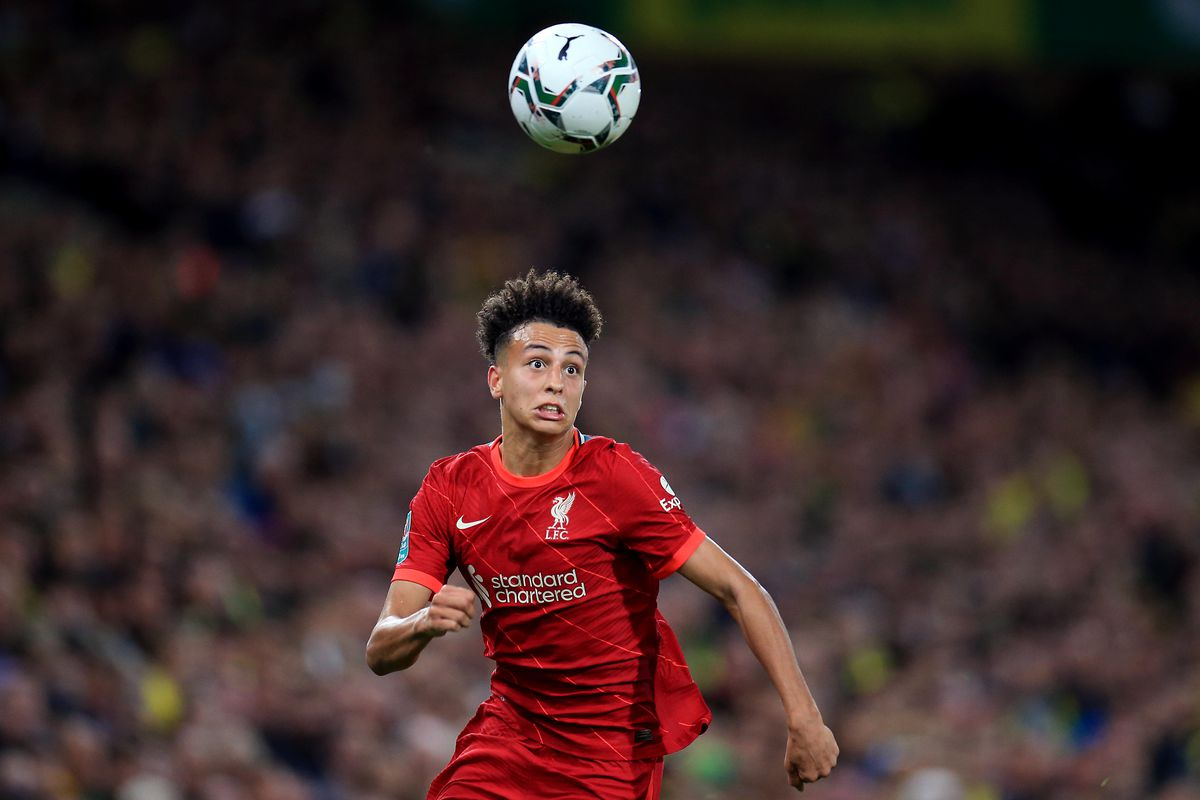Kaide Gordon of Liverpool during the Carabao Cup Third Round match between Norwich City and Liverpool at Carrow Road on September 21, 2021 in Norwich, England.