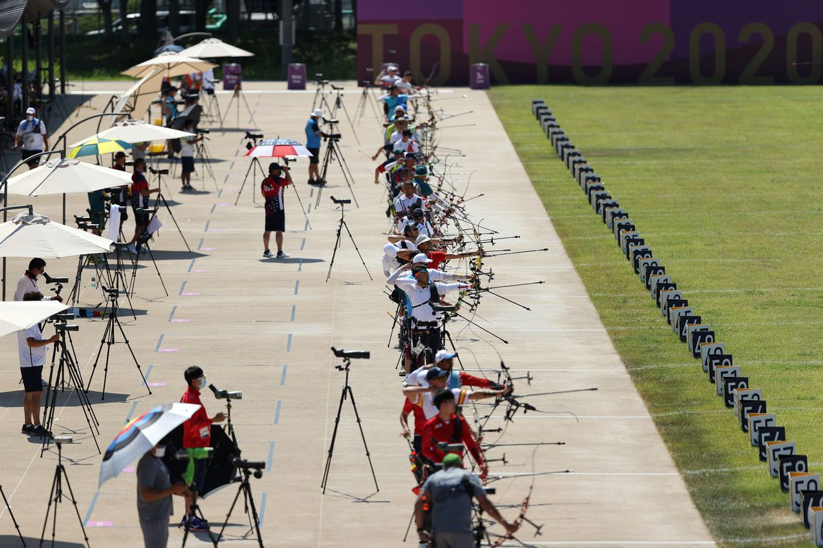 Competitors in action during practice at the Yumenoshima Park Archery Field ahead of the Tokyo 2020 Olympic Games on July 22, 2021 in Tokyo, Japan.