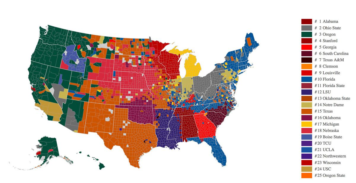 college football fan map