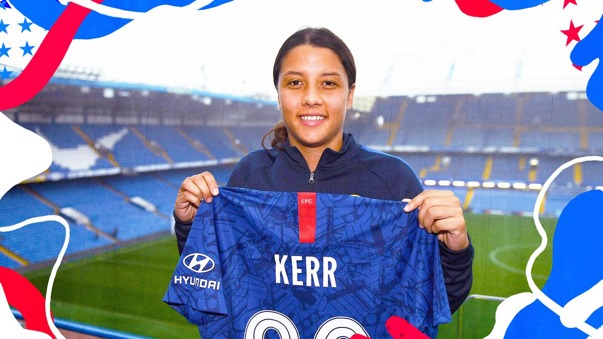 Photo of Sam Kerr holding a Chelsea uniform with her name on it the back and Stamford Bridge in the background.