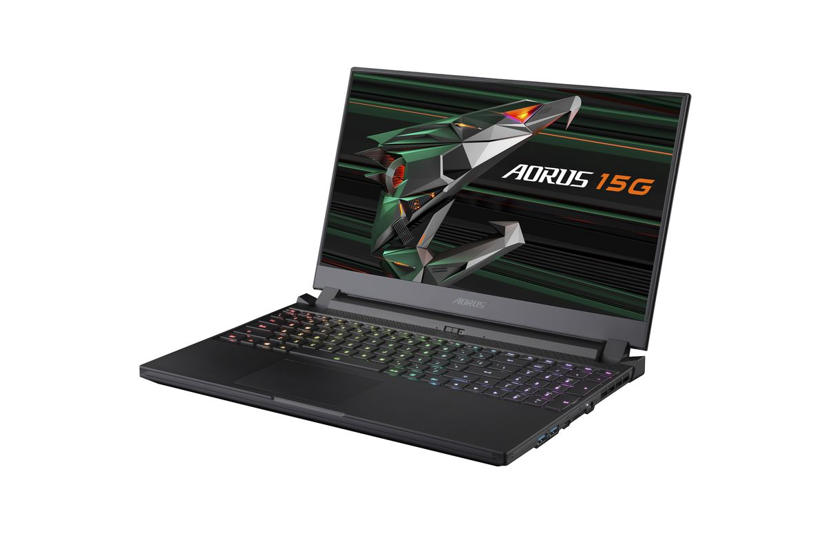 The Aorus 15G open on a white background angled to the left. The Aorus 15G logo is displayed on the screen and the RGB keyboard is illuminated.