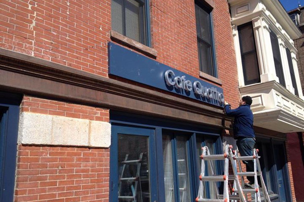 Cafe Quattro signage went up at the South End location last month.