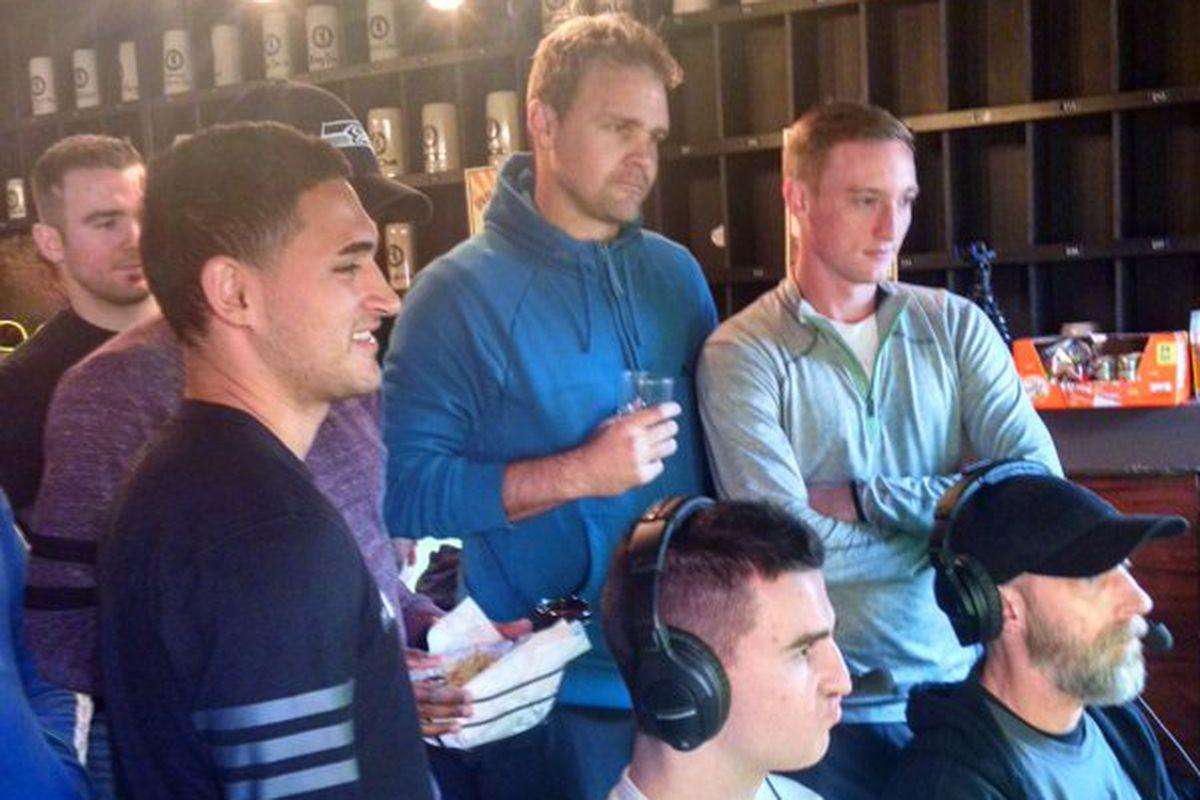 Roldan, Marshall, Remick watch Kovar play Damon in the FIFA Tourney