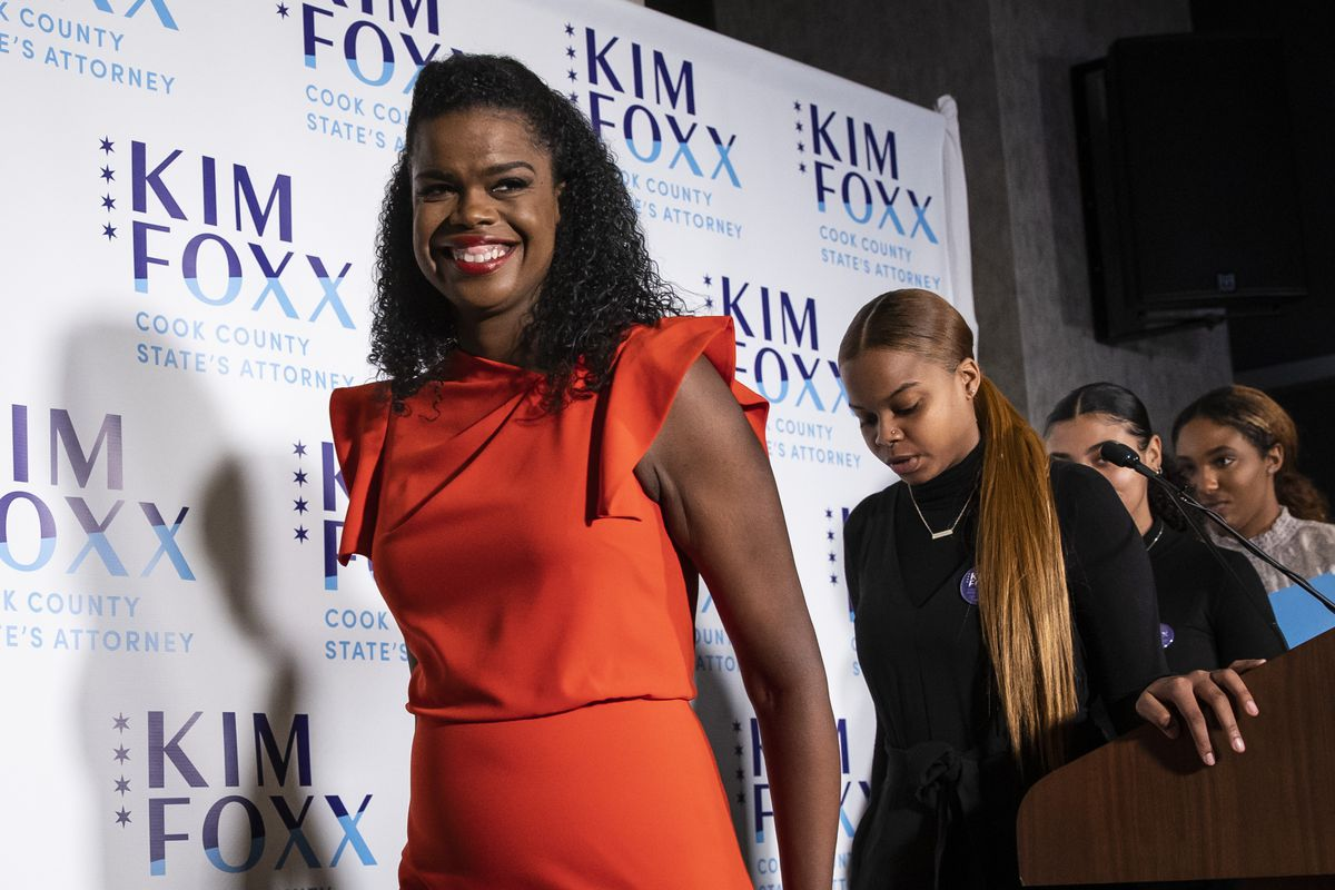 Incumbent Cook County State's Attorney Kim Foxx smiles as she walks off stage at the end of her election night remarks at the Hotel Essex Chicago after winning in the Democratic primary, Tuesday night, March 17, 2020.