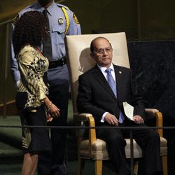 President Thein Sein of Myanmar prepares to address the 67th session of the United Nations General Assembly at U.N. headquarters Thursday, Sept. 27, 2012.