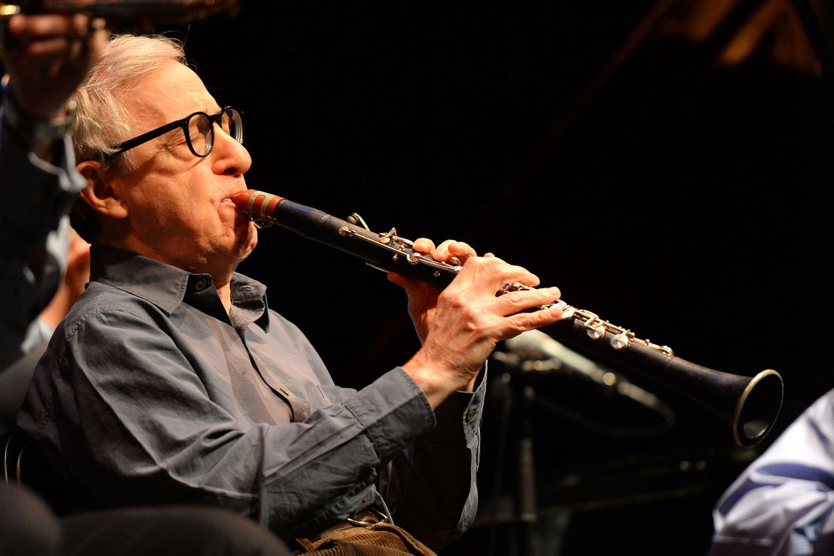 Woody Allen performs with his New Orleans Jazz band in Los Angeles in 2013.
