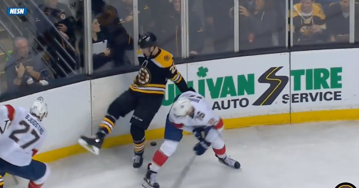 Brandon Carlo stretchered off after a gruesome leg injury, Riley Nash hit by puck