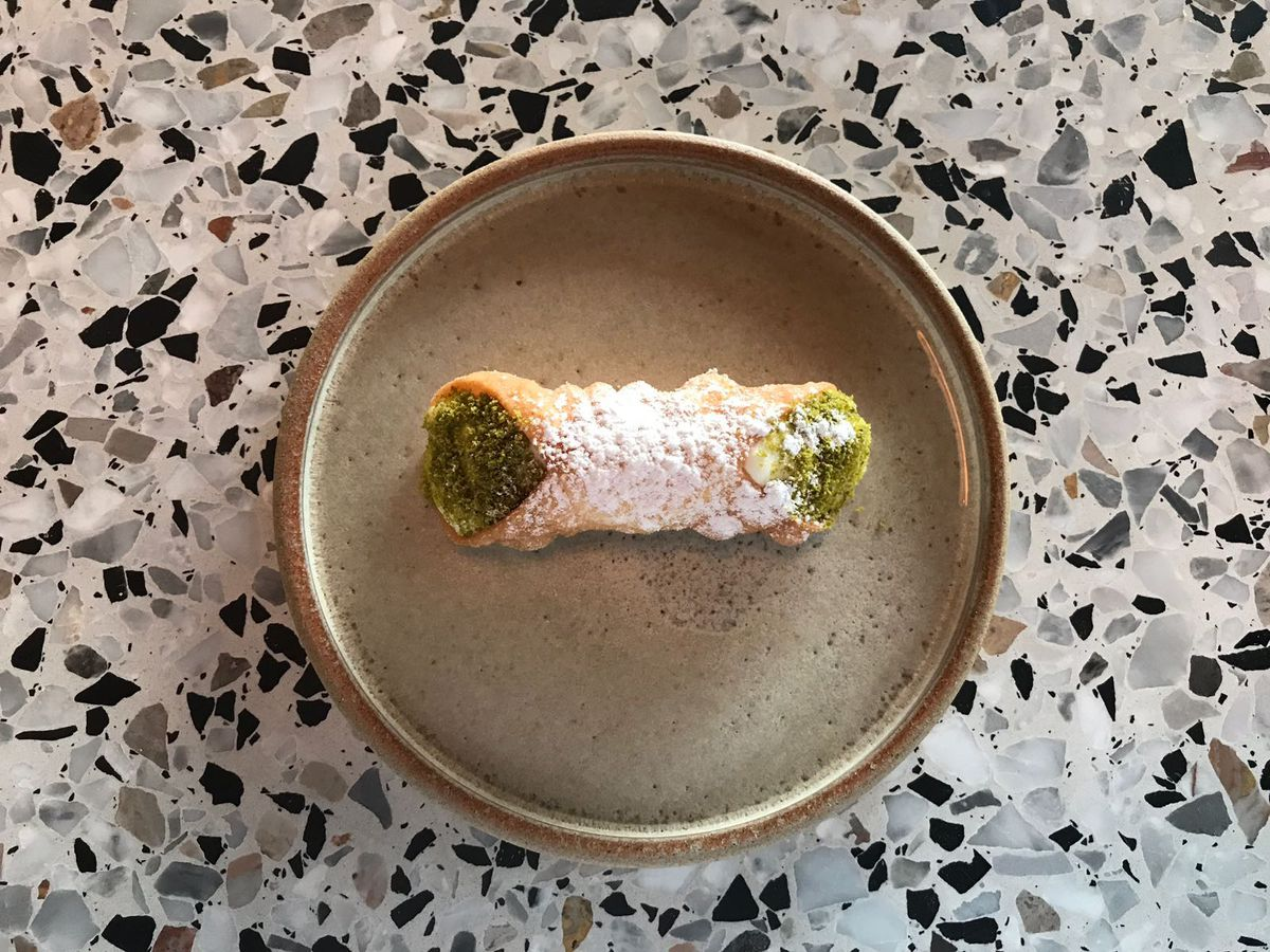 Cannoli with ricotta cream and pistachio at Ombra, one of the best places for pastry in London