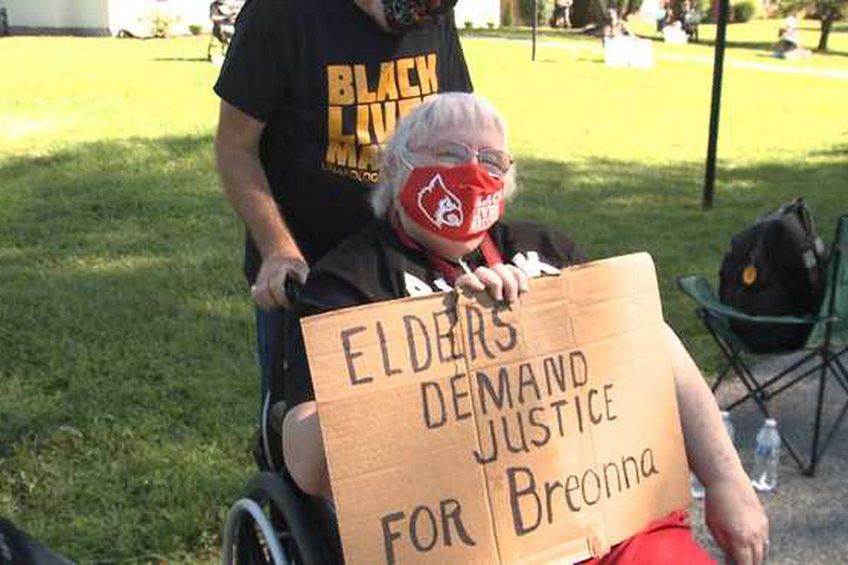 Senior citizens protest