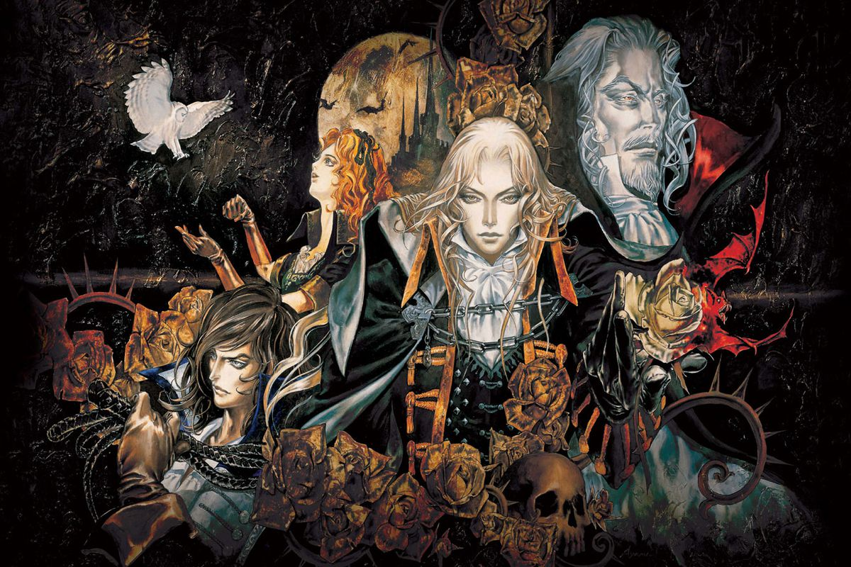 Castlevania: a painting of characters Alucard, Dracula, and others