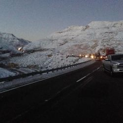 About 300 vehicles were stopped on I-15 in the Virgin River Gorge along the Arizona Strip for as many as 12 hours late Saturday and Sunday, Dec. 8, 2013, because of a rare snowstorm.