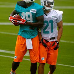 Jul 21, 2013; Davie, FL, USA;  Miami Dolphins wide receiver Mike Wallace (11) and cornerback Brent Grimes (21) during training camp at the Doctors Hospital Training Facility at Nova Southeastern University.