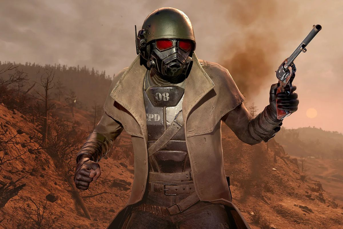 Key art of the Ranger Armor Outfit for Fallout 76. The iconic gear was on the cover of Fallout: New Vegas.