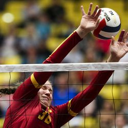 The ball slips through the arms of Mountain View middle blocker Elena Wallace (3) during a 5A high school state finals match at the UCCU Center on the Utah Valley University campus in Orem on Saturday, Nov. 9, 2019. Mountain View defeated Farmington in four sets to take home the state championship.